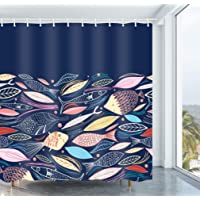 Get Orange Blue Fish Cartoon Fishes Blue Waterproof Polyester Fabric Shower Curtain Set with Hooks 72X72 Inches