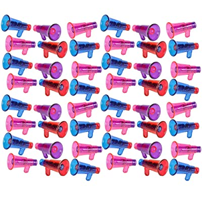 Kicko Colorful Megaphone Whistle with Glitters - 48 Pieces of Multi-Colored Noisemaker - Perfect for Kids Novelty, School Parades, Sports Equipment, Game Accessories, Party Favors and Supplies: Toys & Games