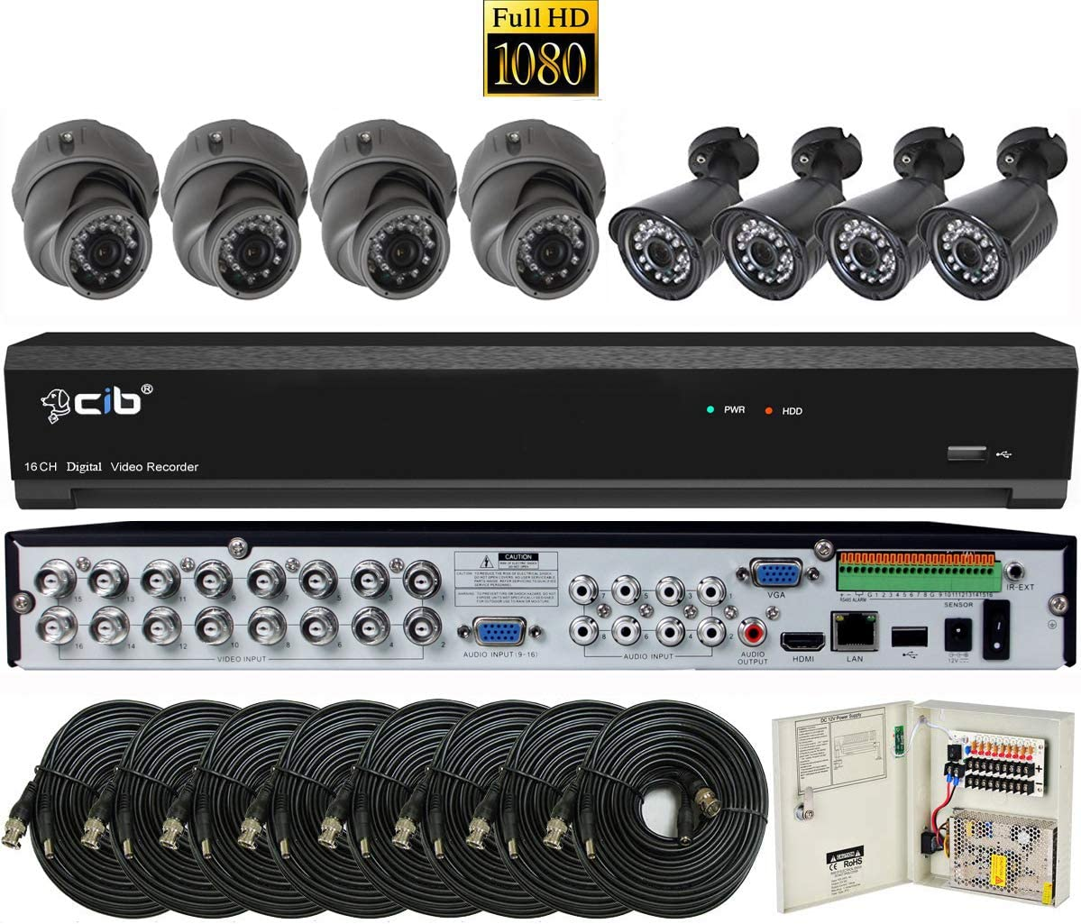 CIB Security H80P16K2T5603G-8KIT 16CH 1080P DVR, 2TB HDD & 8x2.1-MP 1920TVL Night Vision Camera, 4xDome, 4xBullet, Black