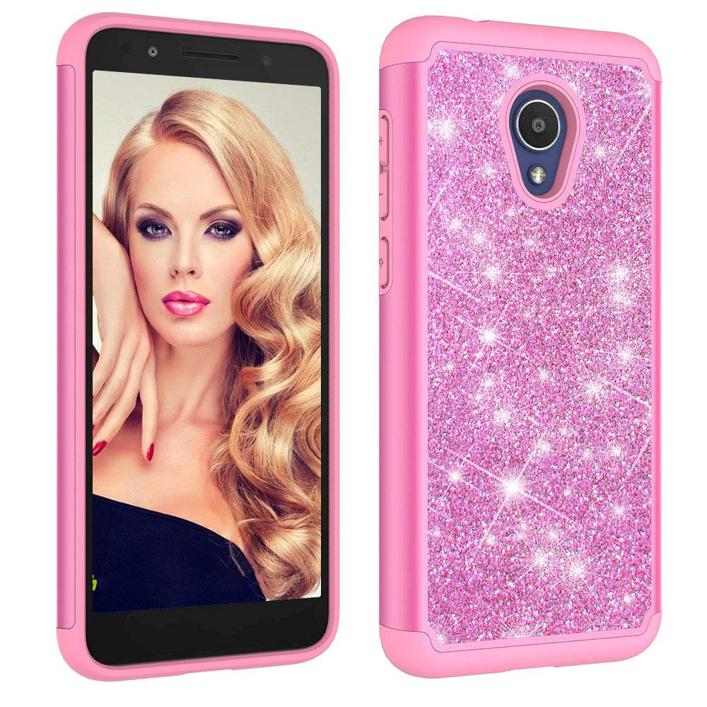 Aiyze for Alcatel IdealXtra 5059R Case 2018, Alcatel 1X Evolve Case, Alcatel TCL LX A502DL Cover Heavy Duty Dual Layer Rubber Silicone Hard Plastic Soft TPU Back Glitter Powder Bling Protective Pink