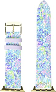 Lilly Pulitzer Purple/Blue/Green Genuine Leather Watch Band Sized to Fit 38mm & 40mm Smartwatches Compatible with Apple Watch Series 1, 2, 3, & 4 (Shell of a Party)