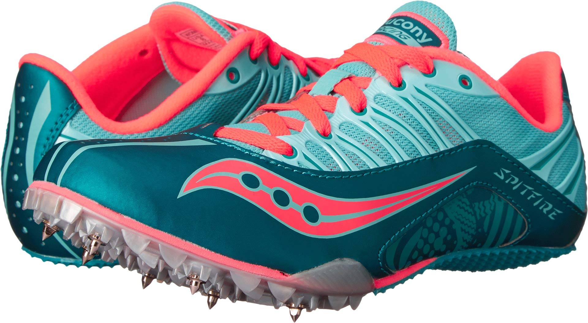 Saucony Women's Spitfire Spike Shoe, Teal/Coral, 9 M US by Saucony (Image #1)