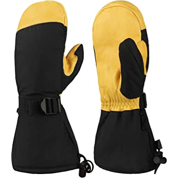 reliable OZERO Winter Ski Snow Gloves Mitten Windproof Work Glove Cowhide Leather Palm Water Resistant for Skiing/Snowmobile/Shovel