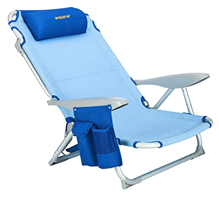WEJOY Aluminum Lightweight Portable 4 Position Lay Flat Folding Camping Beach Chair with Shoulder Strap Cup Holder Pocket Armrest and Headrest, Great for Outdoor Lawn Concert, Blue