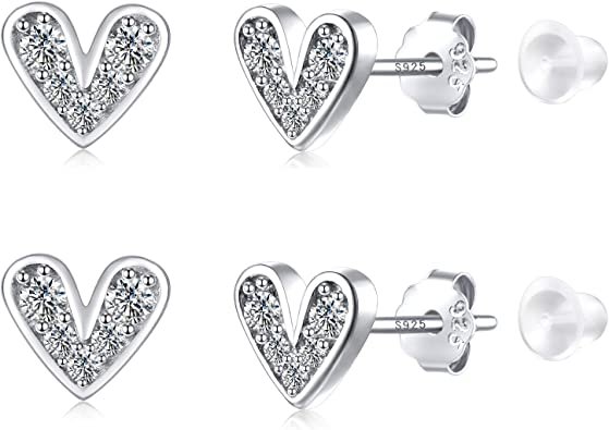 Childrens Earring /& Necklace Set Nickel Free Sterling Silver Pink CZ Heart Necklace /& Stud Earrings for Kids
