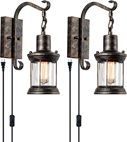 GLADFRESIT 2 Pack Rustic Wall Sconce Wire Cage Set of Two Metal Edison Wall Lamp