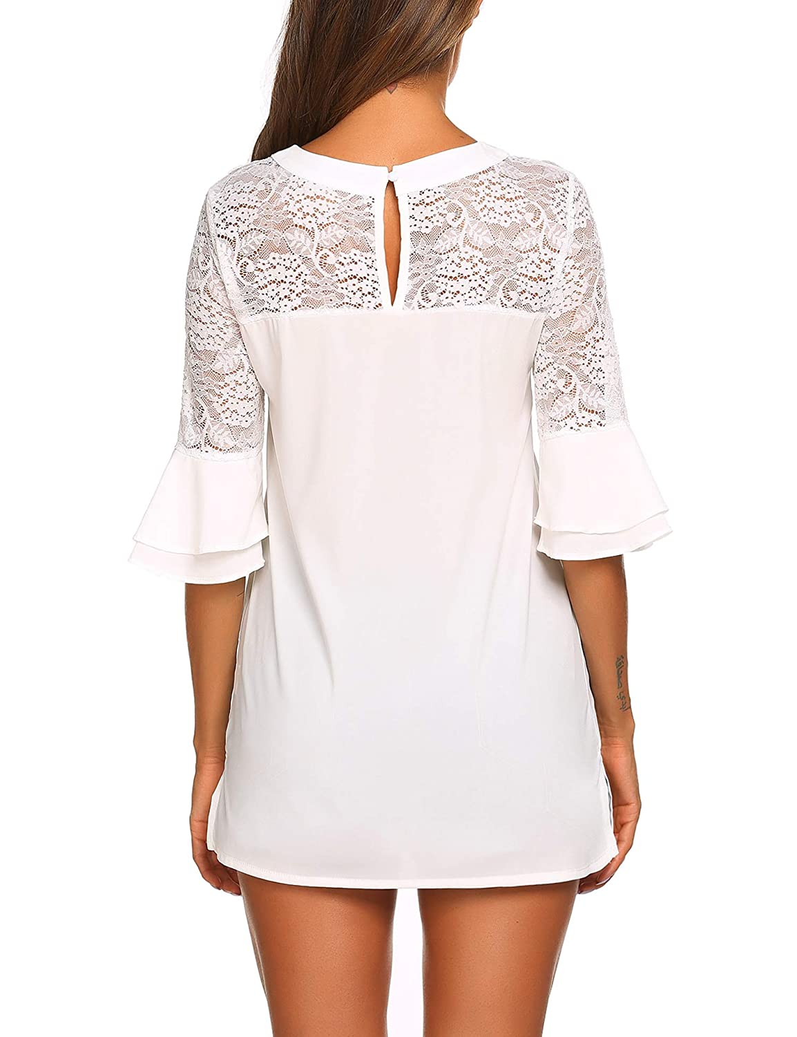 SoTeer Womens Lace Casual Tunic Tops 3//4 Ruffle Bell Sleeve Blouses Shirts S-XXL