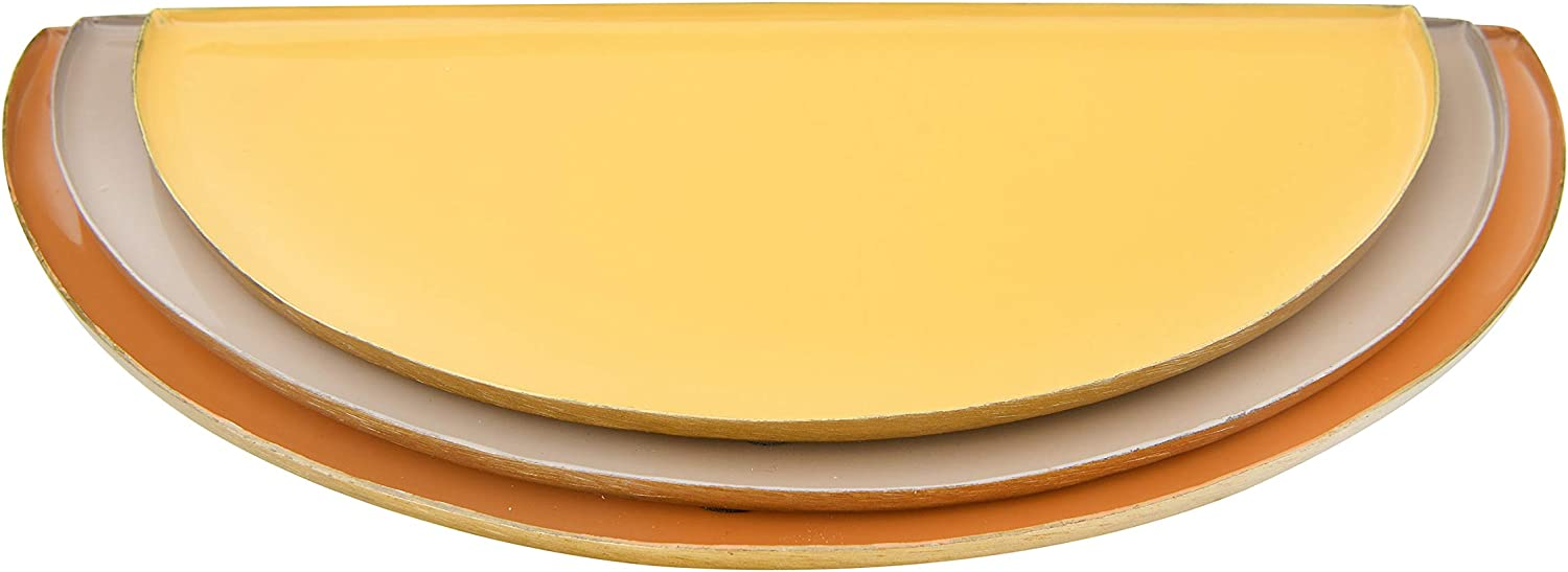 Creative Co-op Enameled Metal Half-Circle (Set of 3 Sizes/Colors) Trays, Multicolor