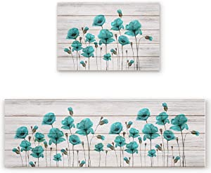 2 Pcs Kitchen Mats Runner Rug Set Anti Fatigue Standing Mat Rubber Backing Teal Green Poppy Wooden Grain Print Washable Floor Mat Area Rug for Home/Office