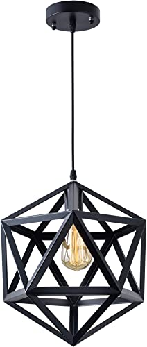 Industrial Polygon Pendant Light Geometric Vintage Modern Industrial Lighting Fixture Hanging Light No Bulb Included