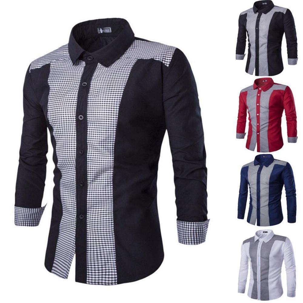 Camisas Slim Casual Hombre,Blusas Hombre,Camisa Vestir Formales de ...