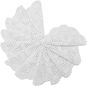 king do way 12Pcs Hand Crocheted Doilies, Round Floral Crochet Lace Flower Doily French Country Placemat Crocheted doilies 20cm White
