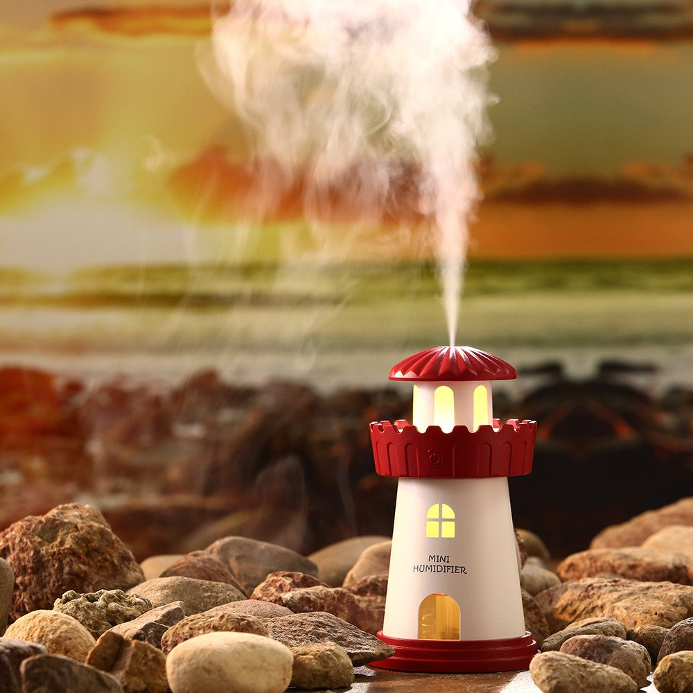 Hangang Lighthouse Cool Mist Humidifier with No Noise, LED Desktop Nightlight, Auto Safety Shut-Off Humidifier for Home / Bedroom / Car / Office (red)