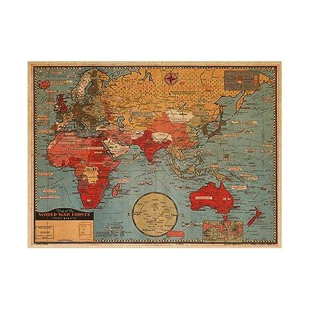 VORCOOL Pegatinas de Pared Extraíble Mapa del Mundo Cartel Antiguo de Papel Kraft 27.6 x 19.7 Pulgadas