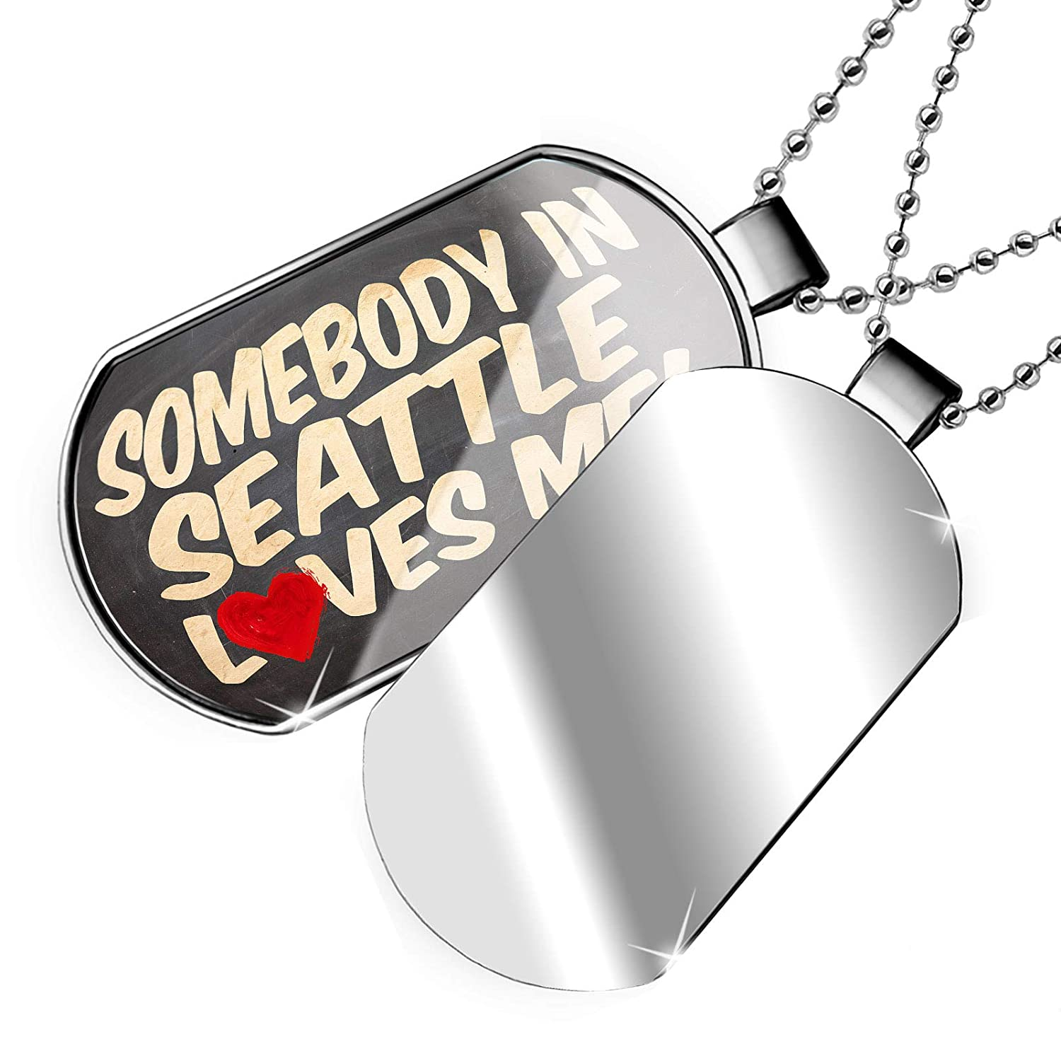 Washington Dogtag Necklace NEONBLOND Personalized Name Engraved Somebody in Seattle Loves me