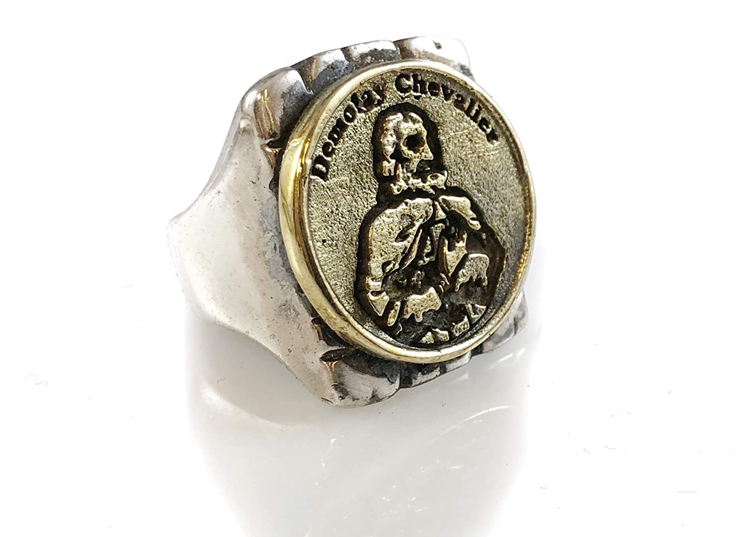 SILVERLAND1 Order of Demolay Brass /& Solid Sterling Silver 925 Ring by Ezi Zino