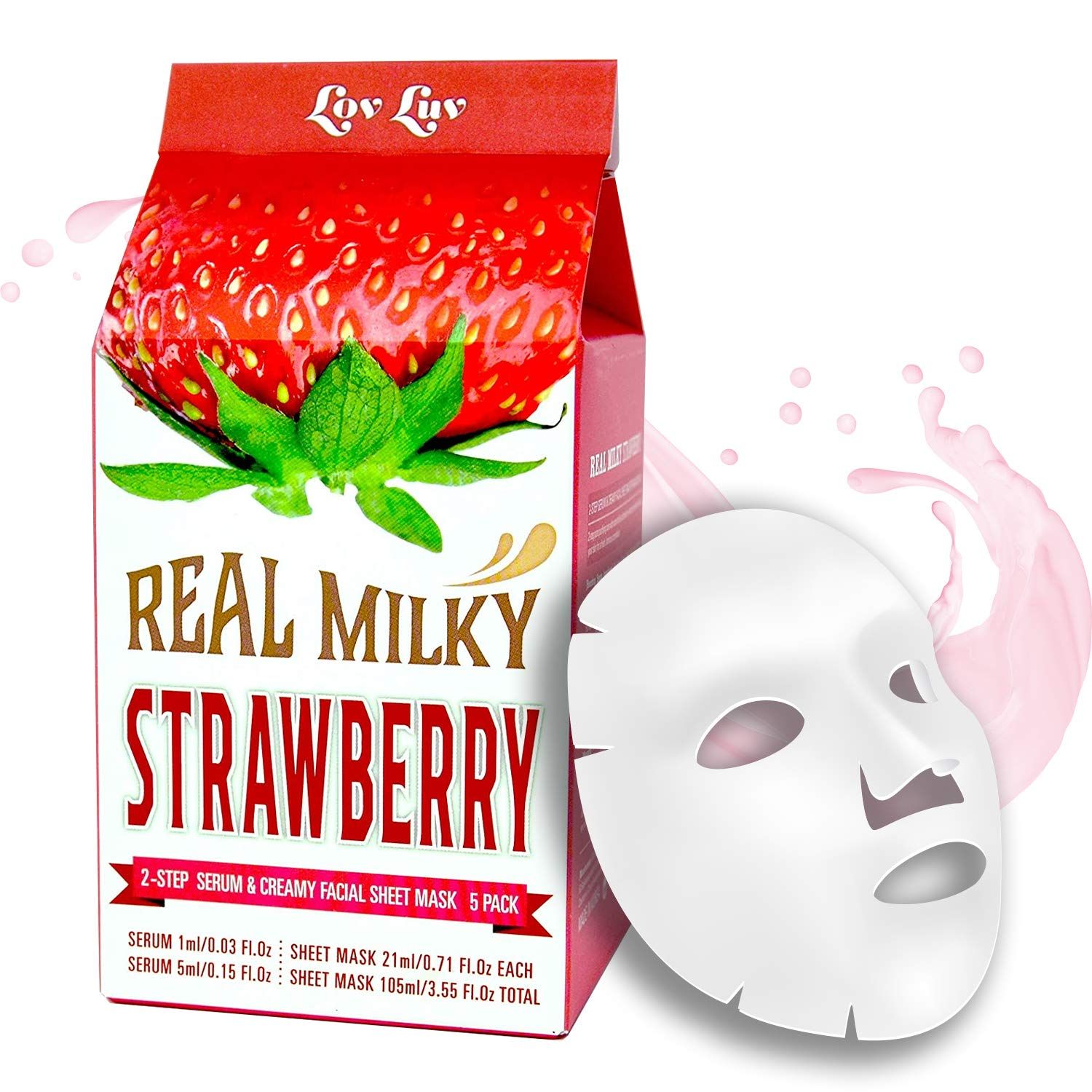 Amazon Com Lovluv Real Milky Strawberry Face Masks K Beauty Moisturizing And Hydrating Facial Sheet Set Two Step Skin Care Essence 5 Pack Beauty