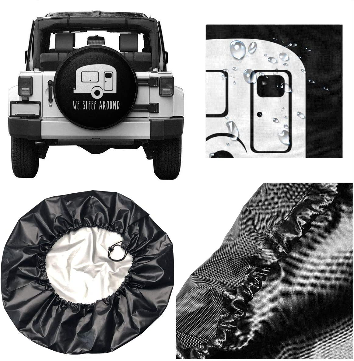 SUV Truck and Many Vehicle Camper Accessories RV Per-Gull Happy Camper Spare tire Cover Waterproof Dust-Proof Universal Spare Wheel Tire Cover Fit for Jeep,Trailer