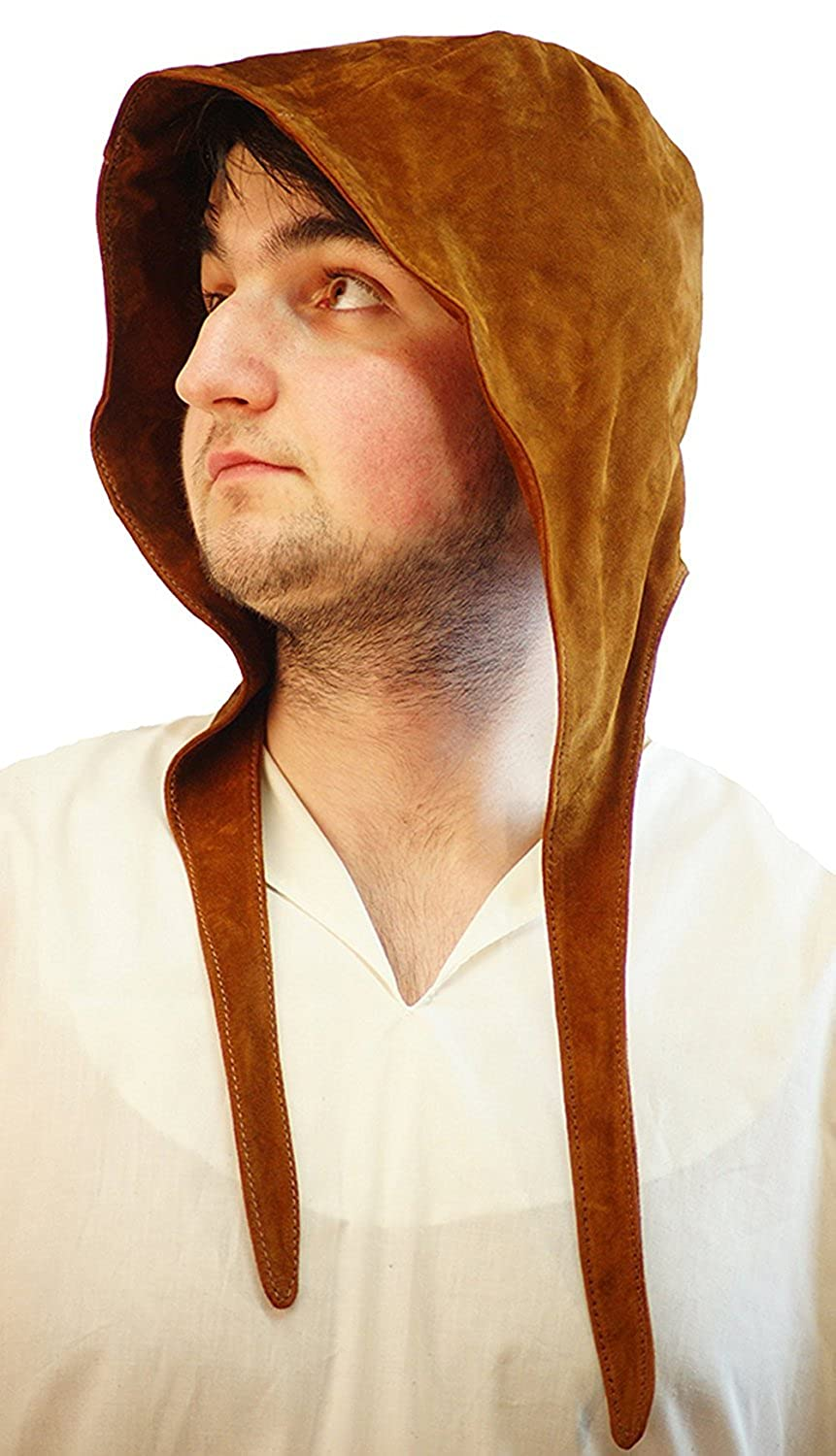 Medieval Men's Brown Leather Coif Head Cap - DeluxeAdultCostumes.com