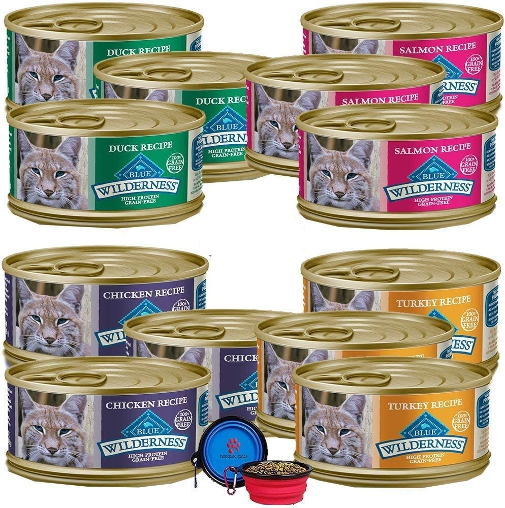 Blue Buffalo Wilderness Cat Food Variety Bundle - No Grain Gourmet Pate 4 Flavors - 12 Pack (Chicken,Turkey,Duck & Salmon) (36 Ounce Total) W/Hotspot Pets Travel Bowl