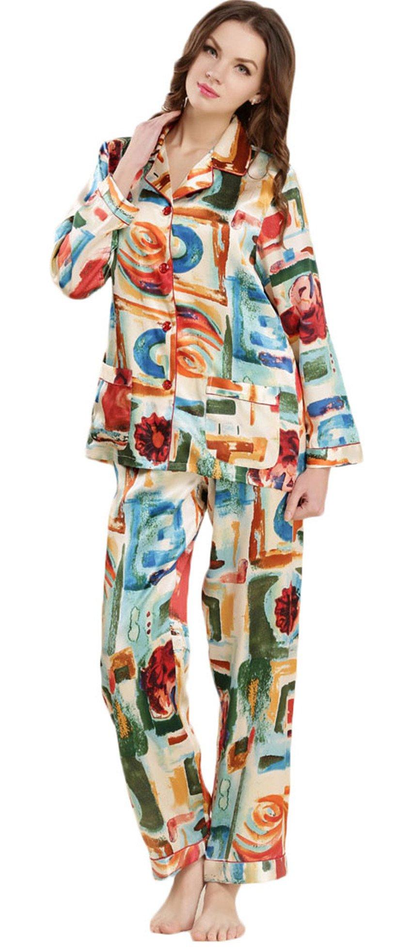 Women's Pure Mulberry Silk Pajama Set Long Sleeve Printed Classic Luxury Sleepwear Cai L