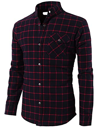 522e721cce638 H2H Mens Casual Slim Fit Heavy Weight Plaid Flannel Shirt Navy US S Asia M