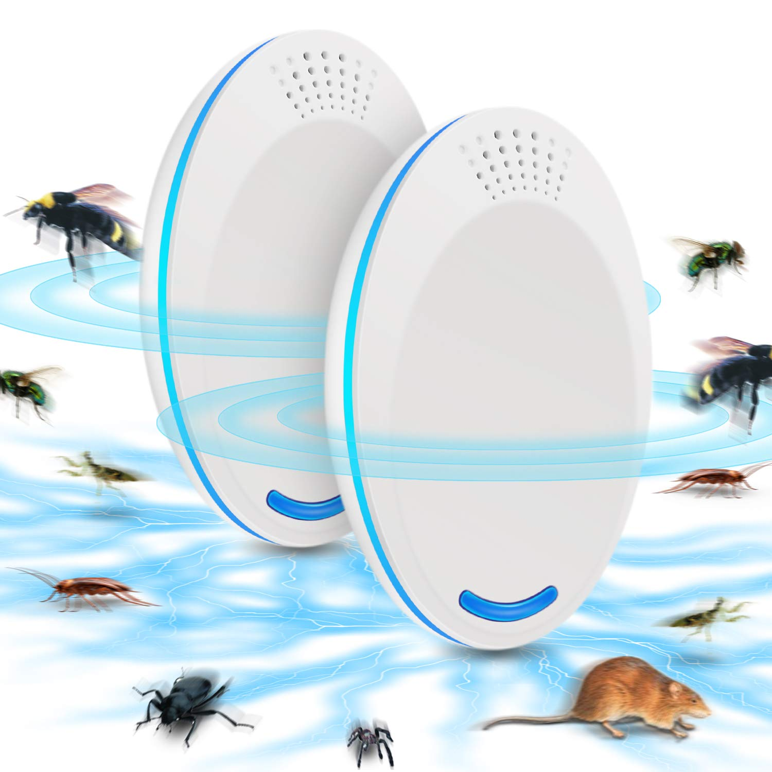 Ultrasonic Pest Repeller-Electronic Mouse Repellent Plug in Pest Control-Pest Repellent for Mice,Rat,Bug,Spider,Roach,Ant,Mosquito,Fly-2PCS White