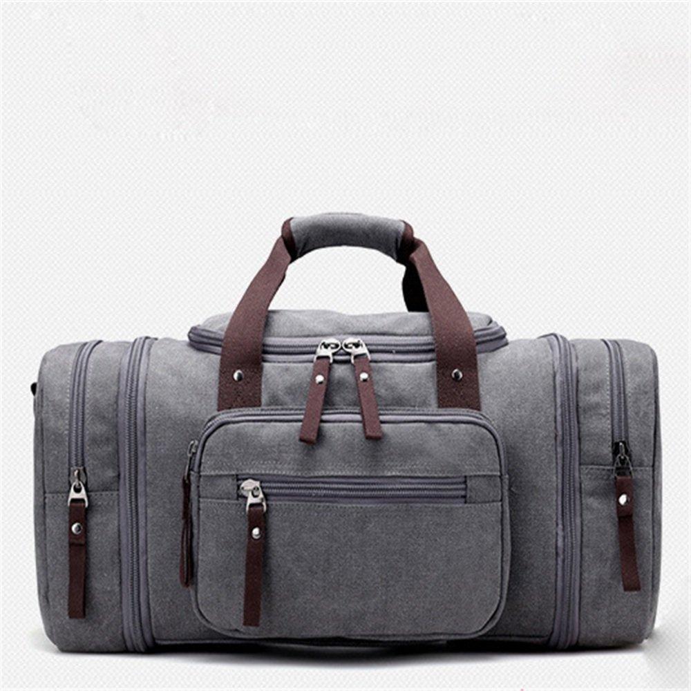 旅行用バッグ 大容量ジムバッグキャンバスバッグサッチェルバッグ大型屋外ポータブル キャビンオンフライト&ホールドオール (色 : グレー)  グレー B07PMMYQM1