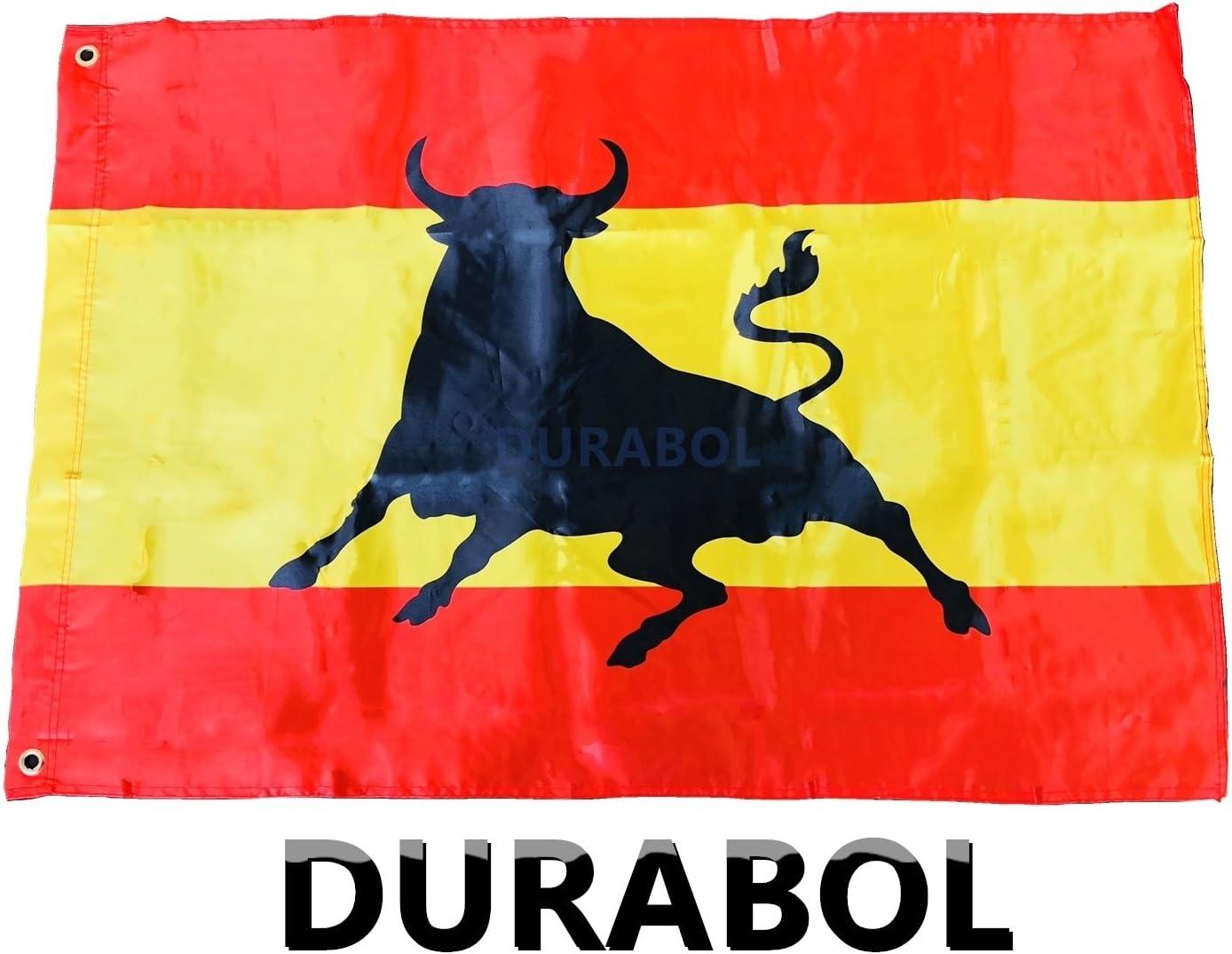 DURABOL Bandera de toro España 60*90 cm SATIN 2 anillas metálicas fijadas en el dobladillo (TORO): Amazon.es: Jardín