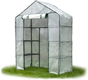 Greenhouse, Walk-in Greenhouse for Outdoors,3 Tier Green House with Anchors and Roll-Up Zipper Door, Plant Growing Garden Plant Mini Greenhouse for Seedling,Flowers Garden Yard