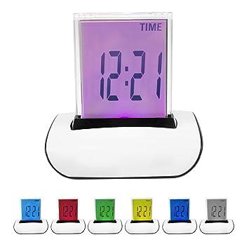 TRIXES Reloj Despertador Y TERMÓMETRO LCD Digital LED 7 Colores