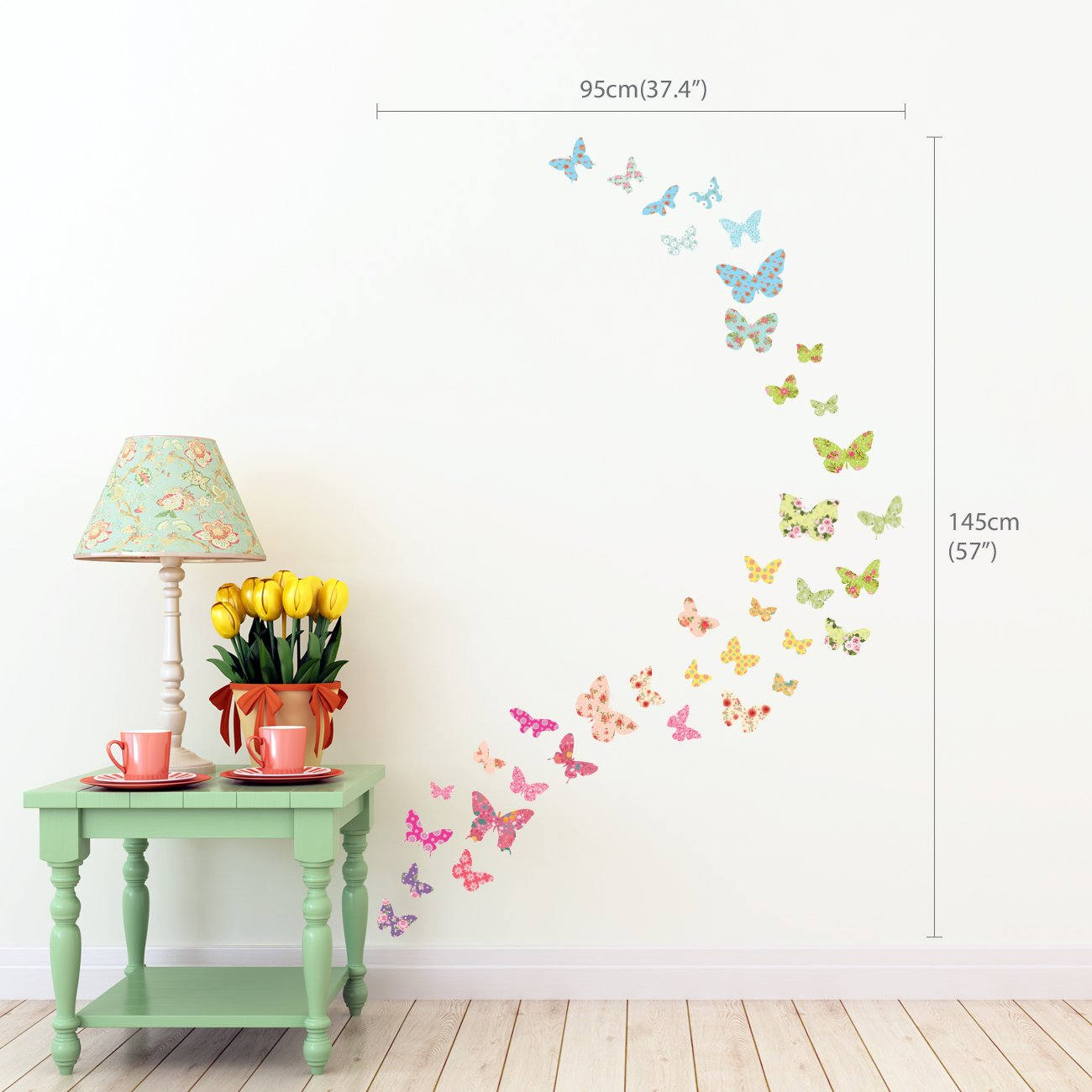 Decowall DW-1408 Patterned Butterflies Kids Wall Decals Wall Stickers Peel and Stick Removable Wall Stickers for Kids Nursery Bedroom Living Room