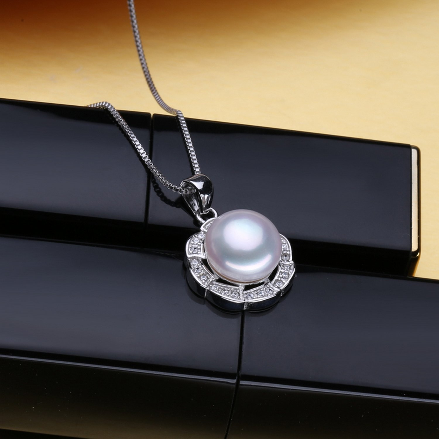 CS-DB Pendants Pearl Flower Shape Wedding Silver Necklaces