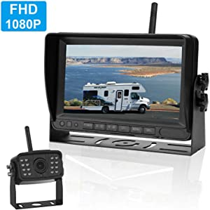 LeeKooLuu FHD 1080P Digital Wireless Backup Camera High-Speed Observation System for RVs,Travel Trailers,Motorhomes,Trucks 7'' Monitor IP69K Waterproof Camera Super Night Vision Backup Lines ON/Off
