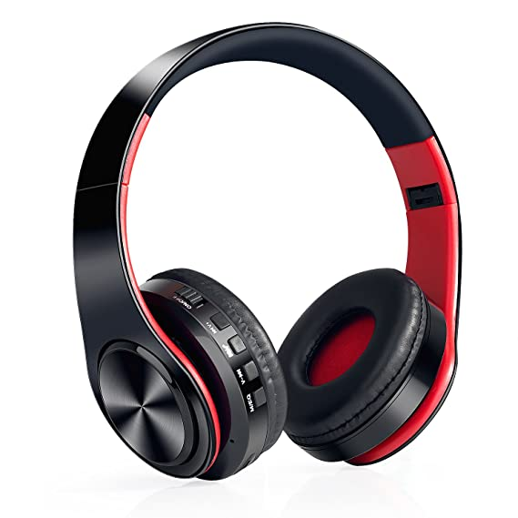Auriculares Inalámbricos Bluetooth, WolinTek Wireless Over-Ear Headphone con Micrófono & 3,5mm Jack, Ranura para Tarjeta Micro SD/TF, 10 Horas de Tiempo de ...