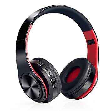 Auriculares Inalámbricos Bluetooth, WolinTek Wireless Over-Ear Headphone con Micrófono & 3,5mm Jack, Ranura para Tarjeta Micro SD/TF, 10 Horas de ...