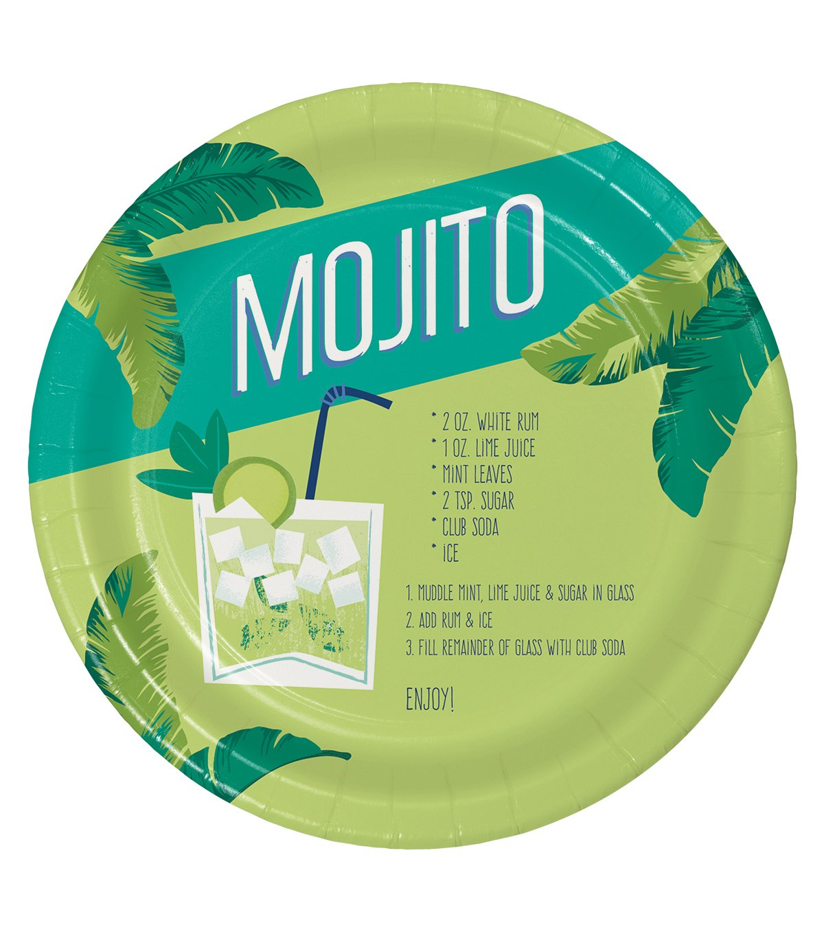 Summer Sol Pack of Eight 9 Paper Dinner Plates Mojito