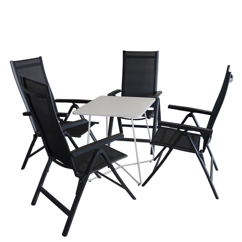 5tlg balkonm bel set bistrotisch metall 60x60cm wei 4x hochlehner aluminium. Black Bedroom Furniture Sets. Home Design Ideas