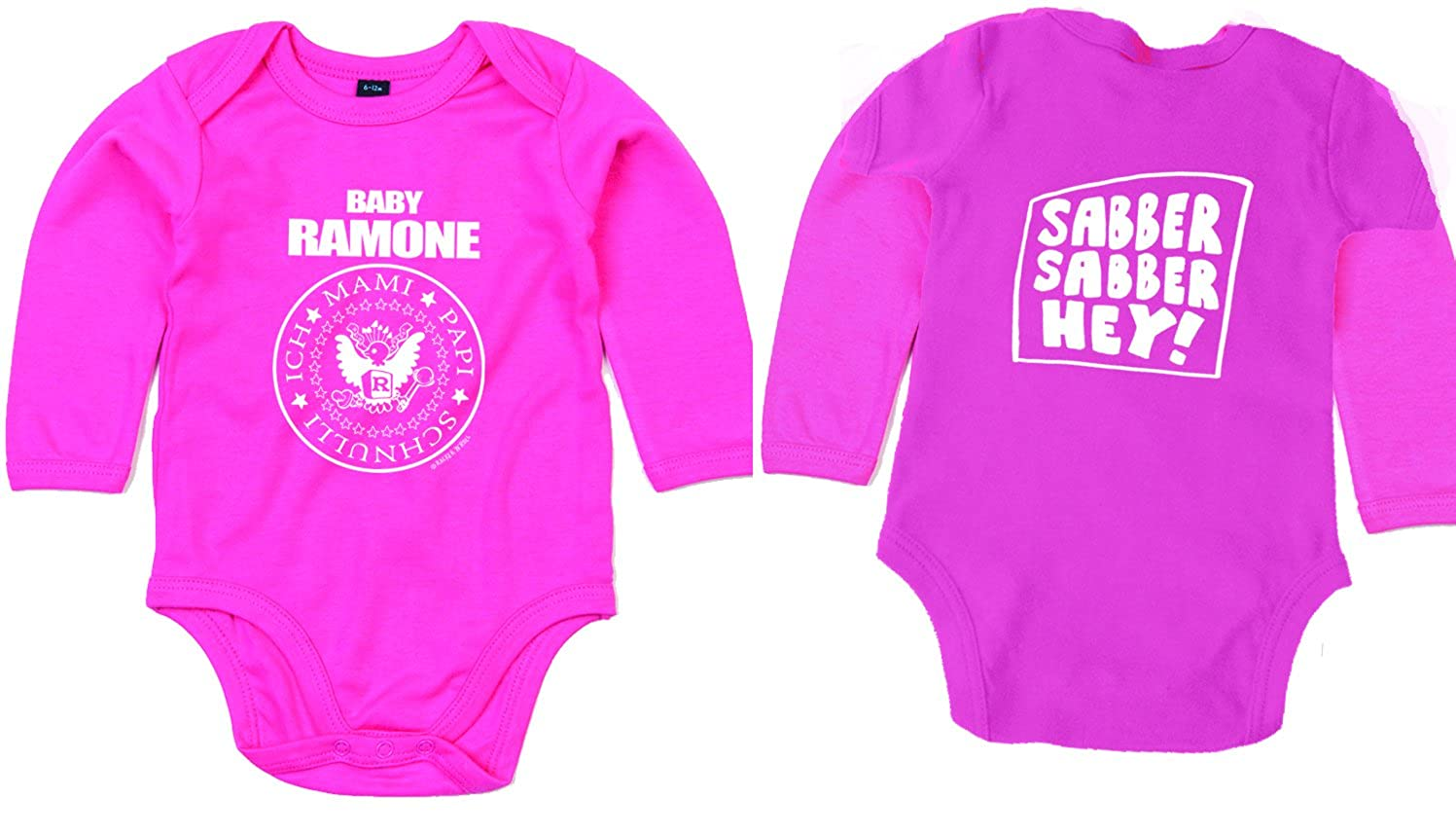 BABY RAMONE Sabber Hey Langarm Body BIO-Baumwolle pink