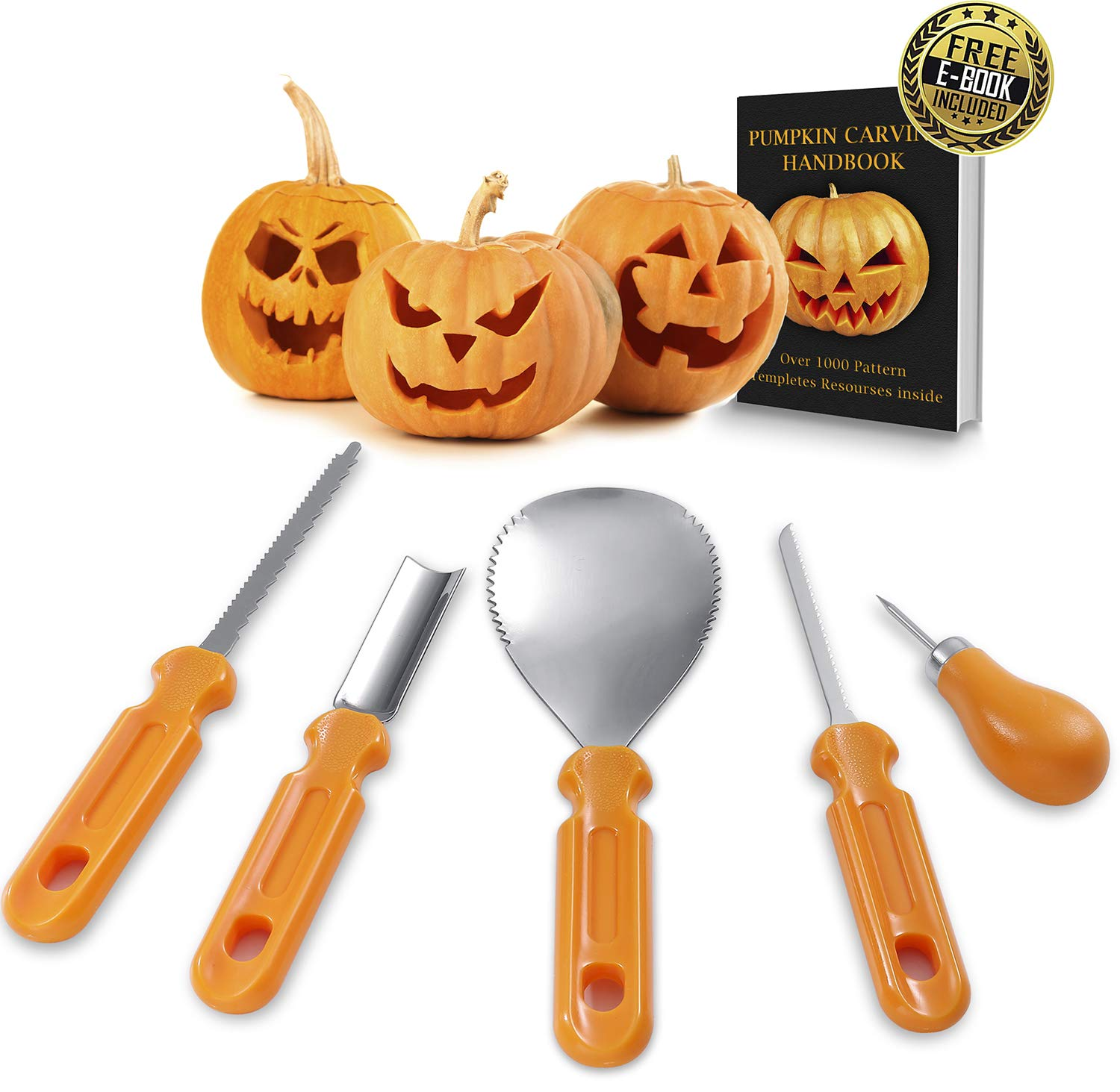 Best Deal Pumpkin Carving Kit - Professional Heavy Duty Stainless Steel Tool Set, Includes 5 Carving Tools, Used As a Carving Knife for Pumpkin Halloween Decoration