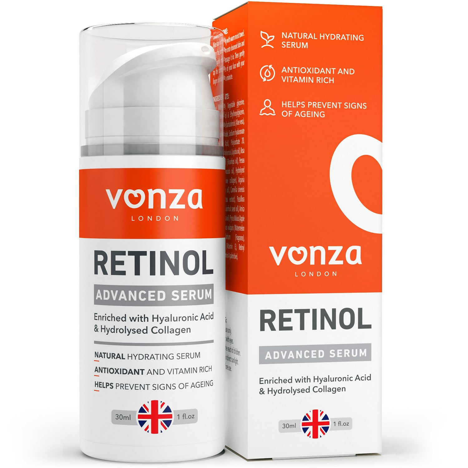 Anti-aging Retinol Face Serum with Hydrolysed Collagen & Hyaluronic Acid by Vonza - Fast-Acting Anti-Ageing Moisturiser and Retinol Serum Duo Delivers A Potent Mix of Antioxidants Working Synergistically to Visibly Improve the Appearance of Wrinkles,