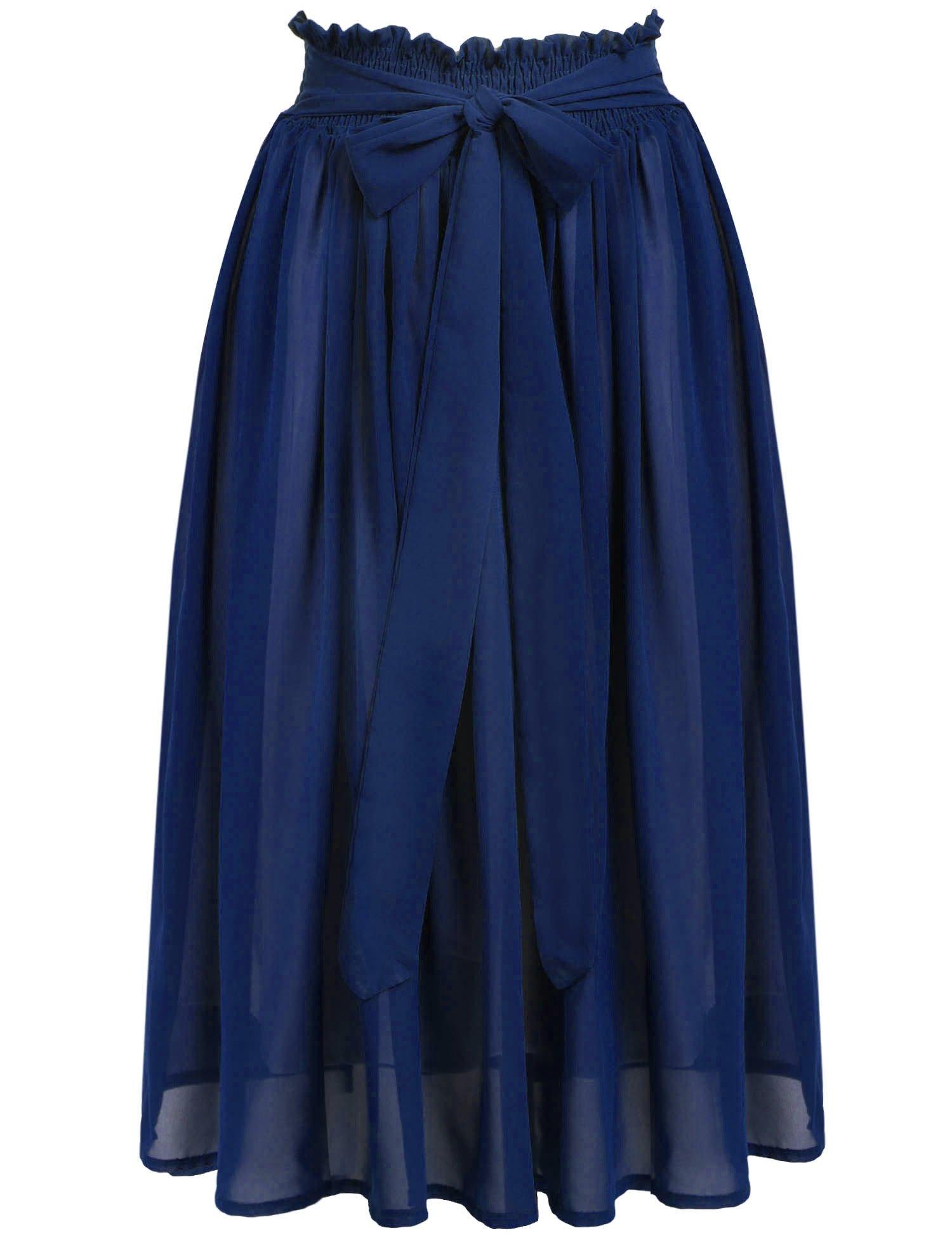 ACEVOG Women's Summer Chiffon Bowknot Pleated A-line Flare Midi Skirt Dress, X-Large, Blue