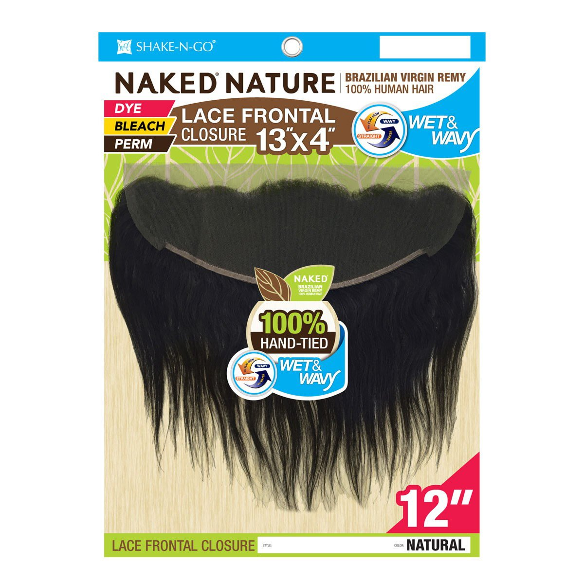 """NAKED Nature Brazilian Virgin Remy Hair Wet&Wavy 13""""x4"""" Lace Frontal Closure - Deep Wave 12"""" #Natural"""