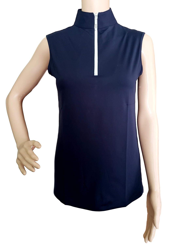Navy//White, Large Tailored Sportsman Ladies Icefil Sleeveless Sun Shirt