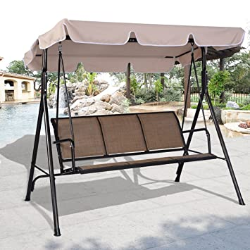 costway 3 person patio swing outdoor canopy awning yard furniture hammock steel amazon     costway 3 person patio swing outdoor canopy awning      rh   amazon