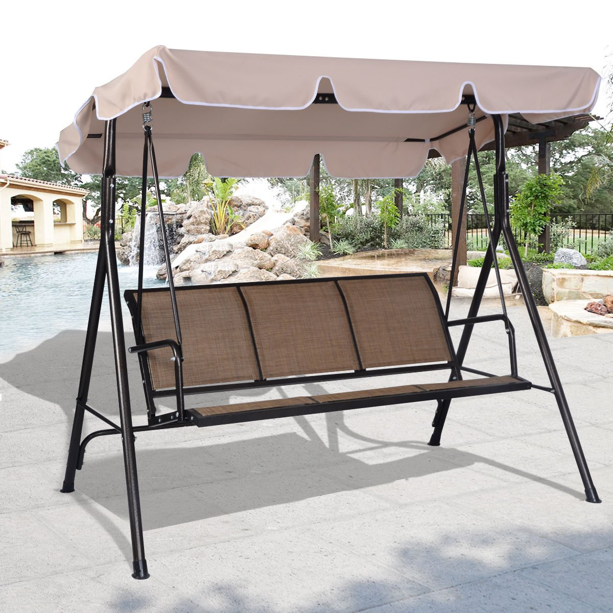 COSTWAY 3 Person Patio Swing Outdoor Canopy Awning Yard Furniture Hammock Steel .#GH45843 3468-T34562FD483923 by Nessagro