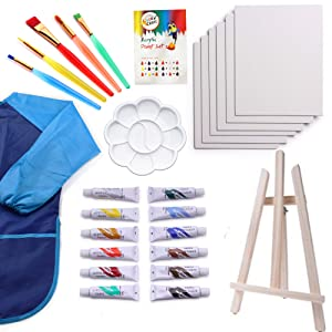 Kids Art Set   27-Piece Acrylic Paint Set with 5 Paint Brushes 8x10 Painting Canvas Tabletop Easel & Bonus Art Smock Paint Palette Color Mixing Chart