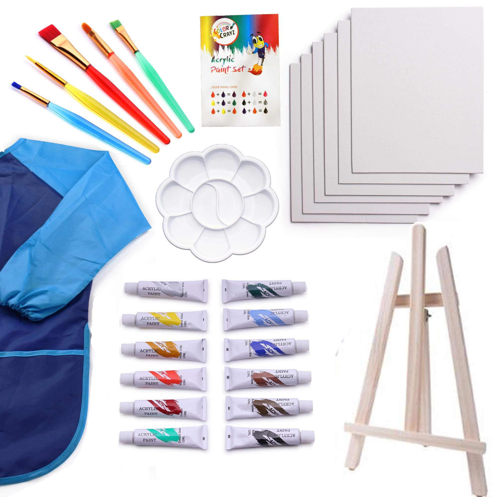 Kids Art Set | 27-Piece Acrylic Paint Set with 5 Paint Brushes 8x10 Painting Canvas Tabletop Easel & Bonus Art Smock Paint Palette Color Mixing Chart