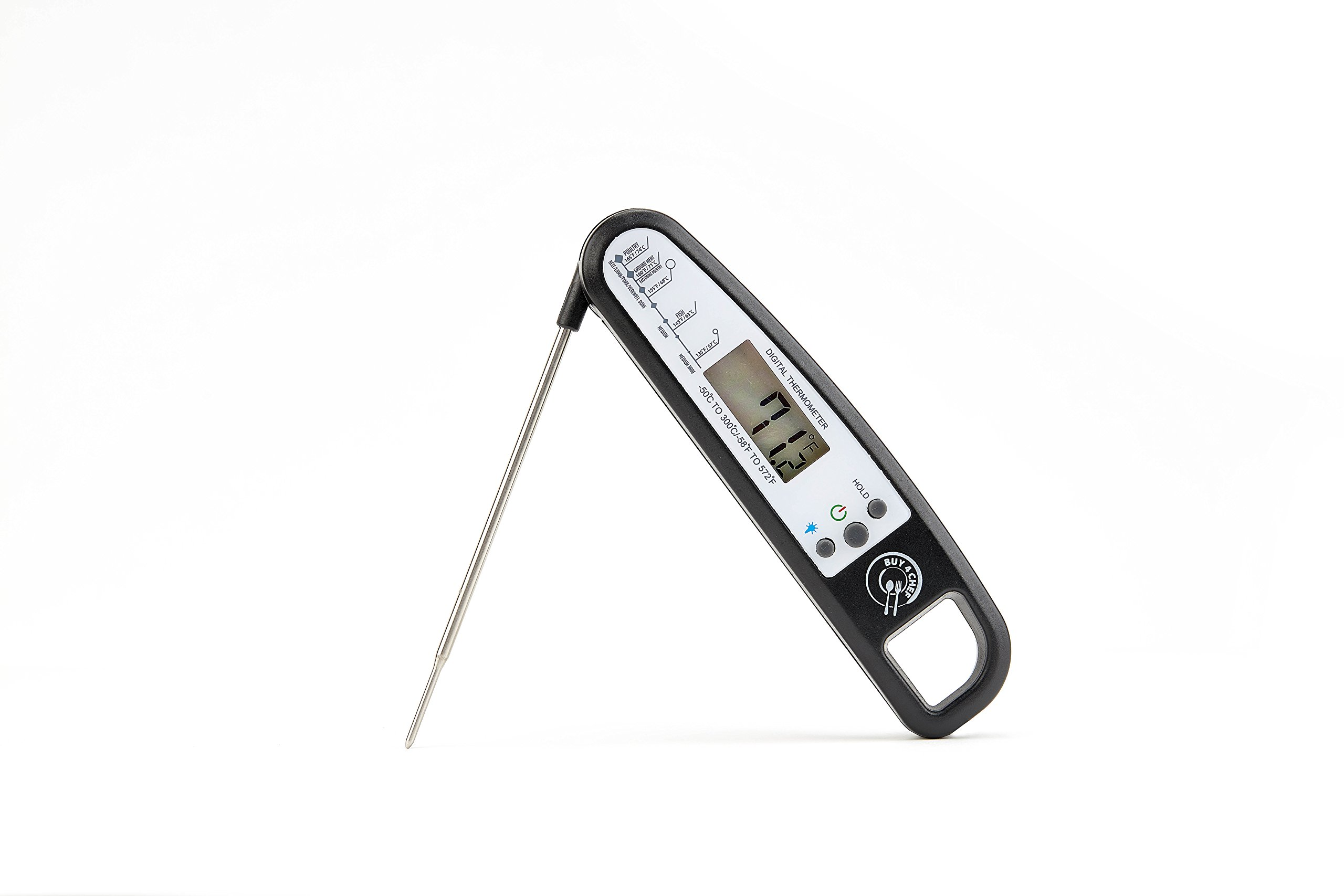 Buy4Chef Splash Proof, Instant Read Digital Food Thermometer with Back Light | Food Grade Stainless Steel Probe & Durable Plastic Housing | Bonus Meat Temperature Guide & eBook (Black)