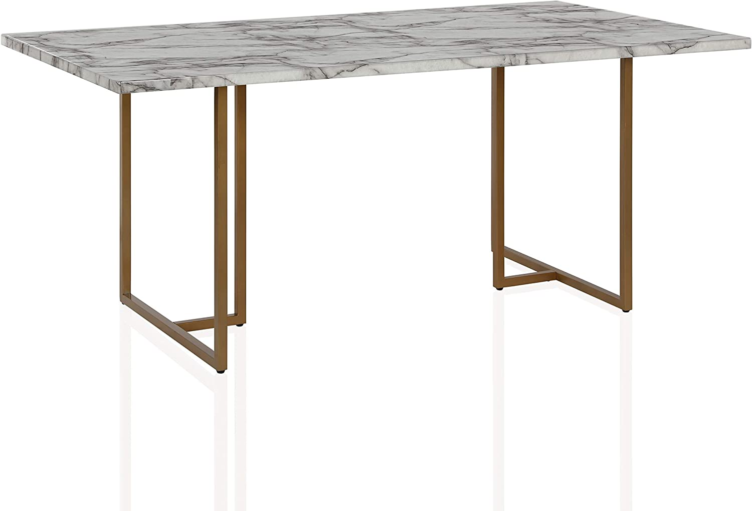 Cosmoliving By Cosmopolitan Dl8880 Cosmoliving Edith Rectangular Faux Marble White With Brass Golden Legs Dining Table Home Kitchen Kolenik Furniture
